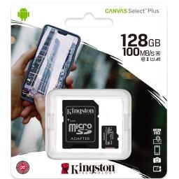 MEMORIA MICRO SD KINGSTON 128GB CANVAS SELECT PLUS 100MBS