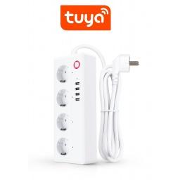 ZAPATILLA TOMA CORRIENTE 4 SCHUKO + 3 USB WIFI TUYA SMART