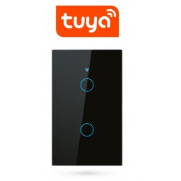 Interruptor De Luz Táctil Tuya Smart 2 Ch Wifi Negro