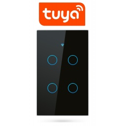 Interruptor De Luz Táctil Tuya Smart 4 Ch Wifi Negro