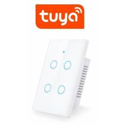 Interruptor De Luz Táctil Tuya Smart 4 Ch Wifi Blanco