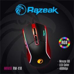 MOUSE RAZEAK GAMING RGB FALCON RM-X18 (Rojo)